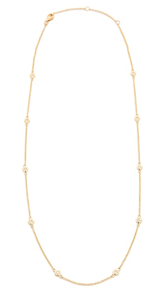 EF Collection 14k Gold 10 Diamond Strand Necklace In Gold/Clear