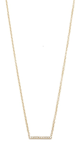 EF Collection 14k Gold Diamond Mini Bar Necklace - Gold