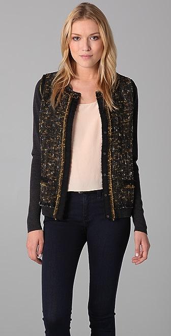 Elie Tahari Rachel Sweater with Tweed Front