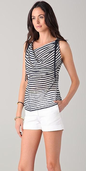 Elie Tahari Molly Striped Linen Top