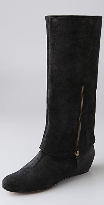 Elizabeth and James Steel Suede Long Cuff Boots on Hidden Wedge