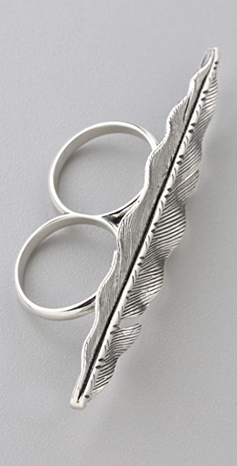 Elizabeth and James Feather Across the Hand Ring