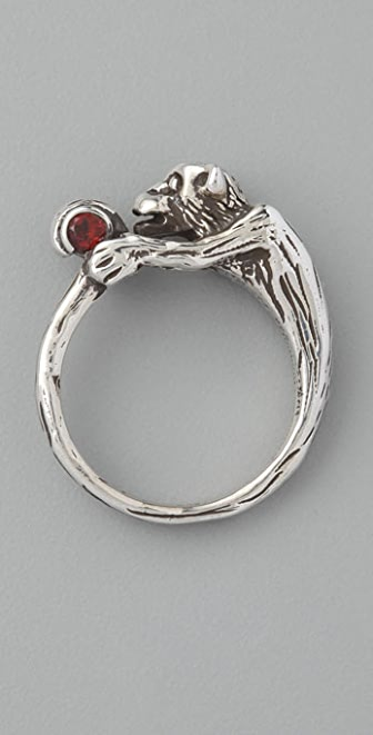 Elizabeth and James Wrap Monkey Ring with Garnet