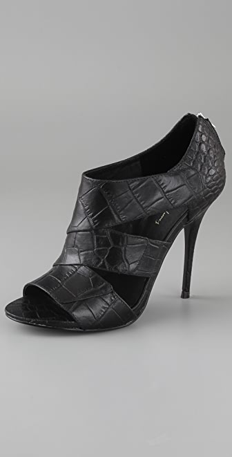 Elizabeth and James Latch Croc Open Toe Booties