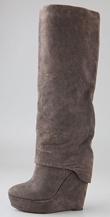 Elizabeth and James Scuff Suede Platform Boots with Long Cuff