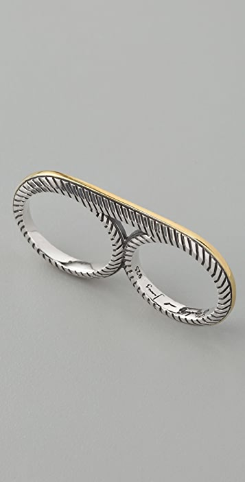 Elizabeth and James Two Tone Deco Double Ring