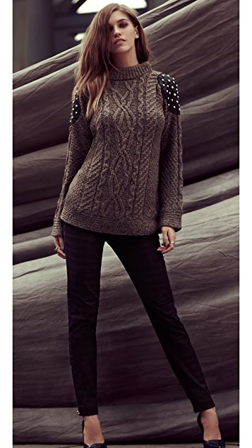 Elizabeth and James Studded Cable Sweater