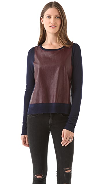 Elizabeth and James Leather High Low Pullover