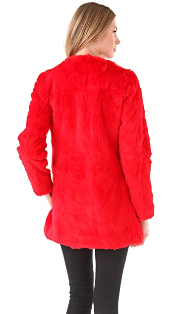 Elizabeth and James Bora Rabbit Fur Coat
