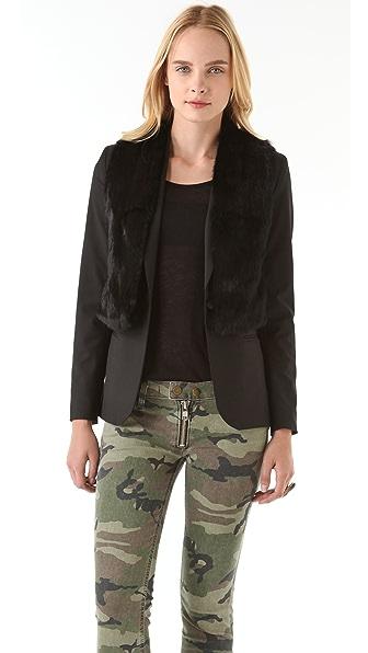 Elizabeth and James Double Rex Blazer with Fur Vest