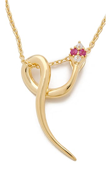 Elizabeth and James White Sapphire & Ruby Meadowlark Snake Necklace