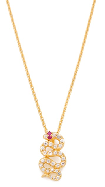 Elizabeth and James Snake Pendant Necklace with White Sapphire & Ruby