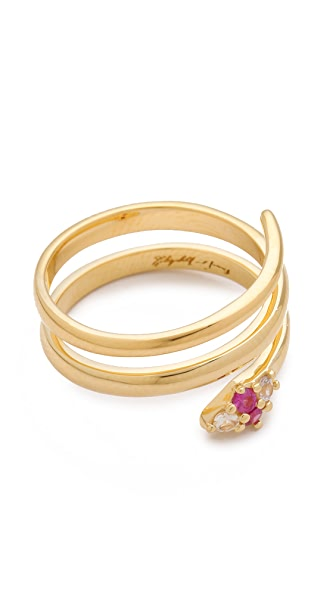 Elizabeth and James Meadowlark Snake Wrapping Ring with White Sapphire & Ruby