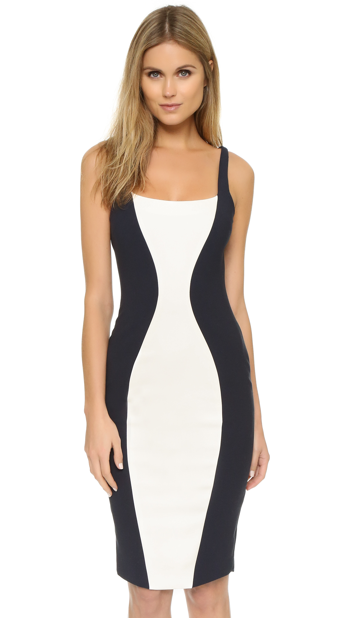 Elizabeth and James Ahana Dress In Ivory/French Navy