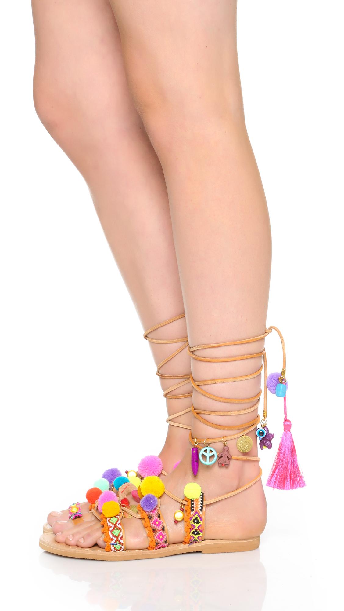 3a69228946d3 Elina Linardaki Penny Lane Lace Up Sandals