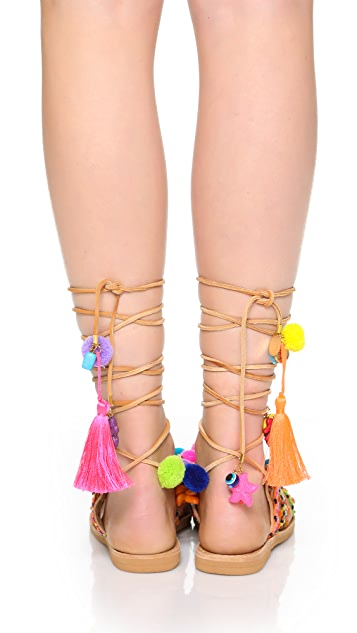 Elina Linardaki Penny Lane Lace Up Sandals