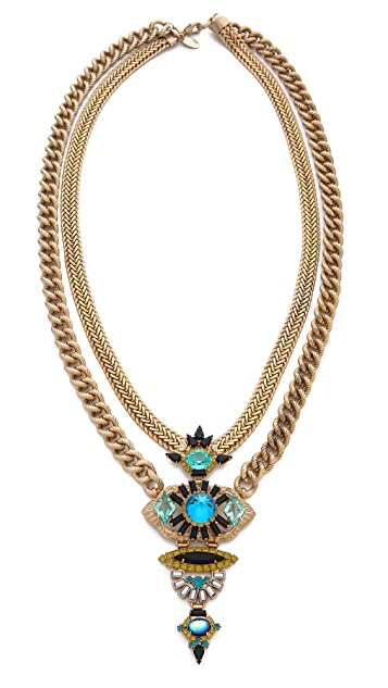 Elizabeth Cole Double Chain Pendant Necklace