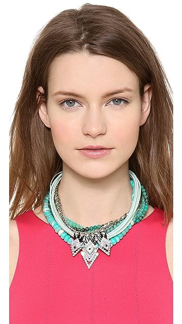 Elizabeth Cole Beaded Navette Station Necklace