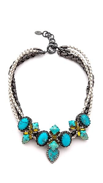 Elizabeth Cole Braided Leather Stone Station Necklace