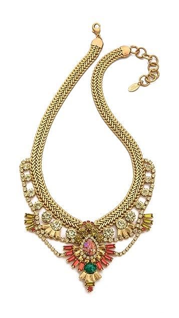 Elizabeth Cole Short Crystal Bib Necklace