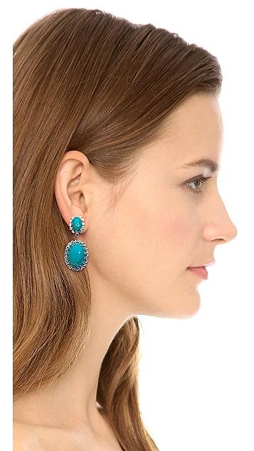 Elizabeth Cole Double Turquoise Earrings