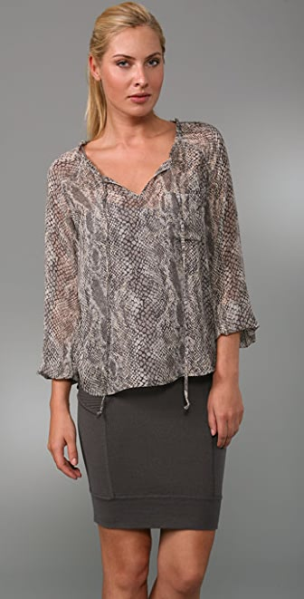 Ella Moss Neck Tie Cobra Blouse