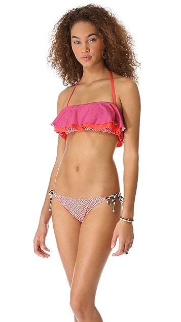 Ella Moss Sun Tile Ruffle Bandeau Bikini Top