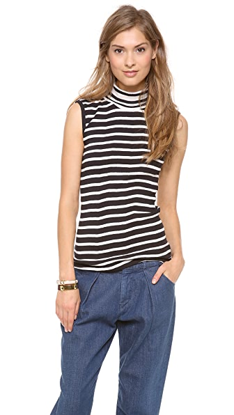 Edith A. Miller Combo Turtleneck Sleeveless Sweater