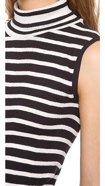 Edith A. Miller Combo Turtleneck Sleeveless Sweater