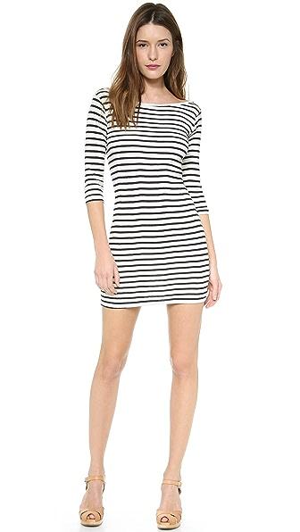 Edith A. Miller Boat Neck 3/4 Sleeve Mini Dress