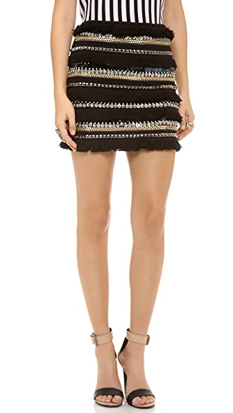 endless rose Fringe Mini Skirt