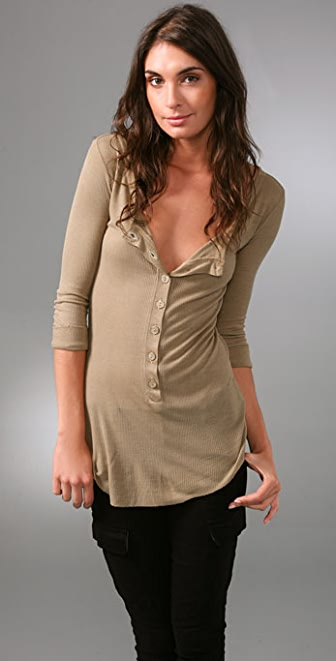 Enza Costa Rib 3/4 Henley Top