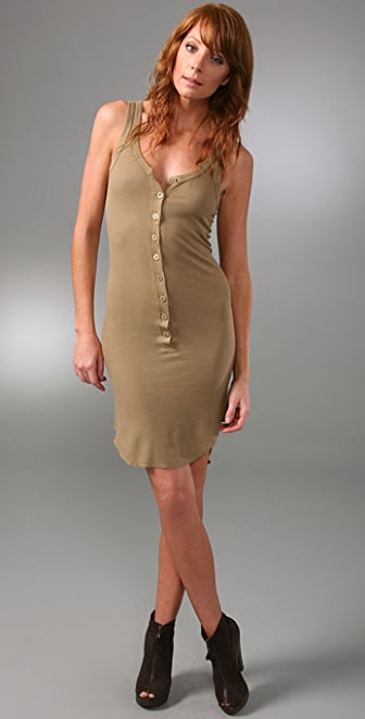 Enza Costa Ribbed Henley Tank Dress