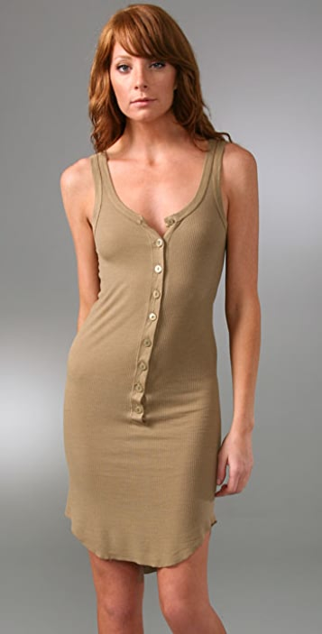 Enza Costa Ribbed Henley Tank Dress
