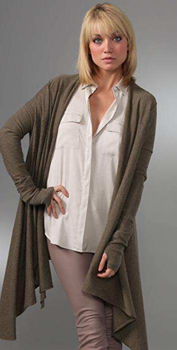 Enza Costa Cotton Cashmere Shawl Cardigan with Thumbholes