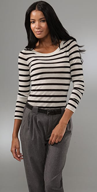 Enza Costa Striped Cashmere Crew Sweater