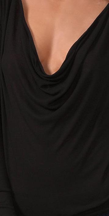Enza Costa Rib Long Sleeve Cowl Top
