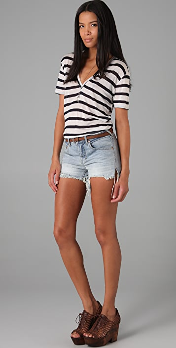 Enza Costa Short Sleeve V Neck Striped Tee