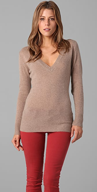 Enza Costa Deep V Cashmere Sweater with Elbow Patches