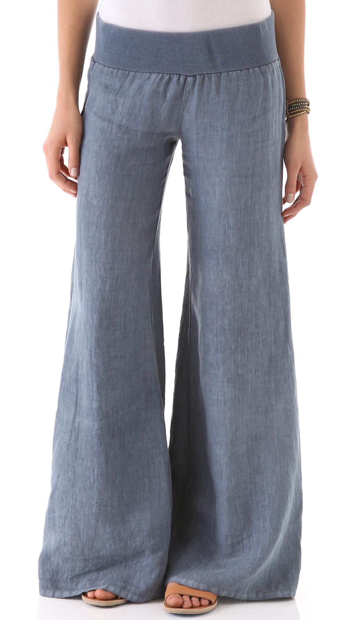 Enza Costa Linen Wide Leg Pants   SHOPBOP