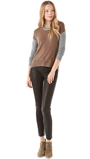 Enza Costa Colorblock Cashmere Sweater