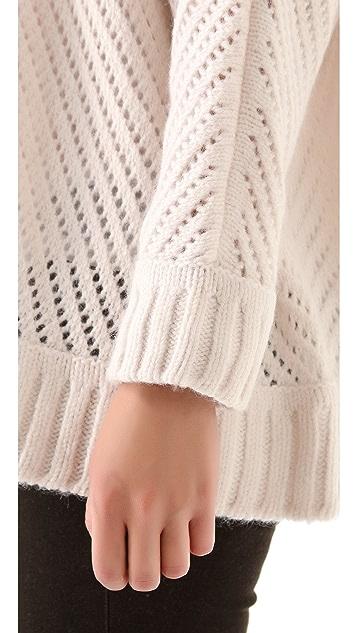 Enza Costa Oversized Basket Weave Sweater