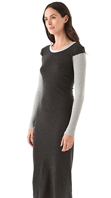 Enza Costa Colorblock Dress With Thumbhole Sleeves