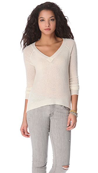 Enza Costa Cashmere V Neck Sweater