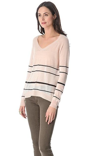 Enza Costa Cashmere Colorblock Pullover