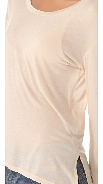 Enza Costa Drop Shoulder Long Sleeve Tee