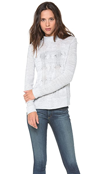 Enza Costa Merino Cable Knit Sweater