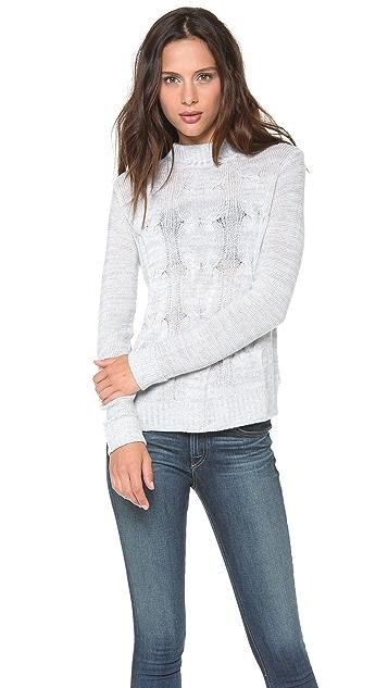 Enza Costa Merino Cable Knit Sweater