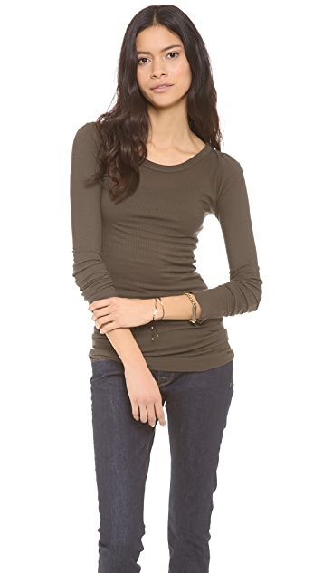 Enza Costa Long Sleeve Rib Crew Neck Tee