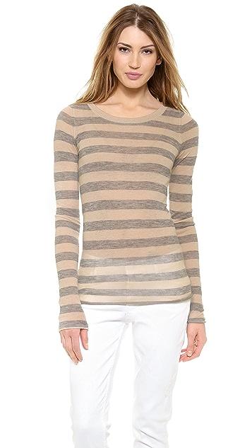 Enza Costa Cashmere Stripe Crew Neck Sweater